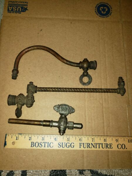 Antique Brass Gas Light Wall Sconce Swing Arm Lamp Valve Parts Restore Victorian $35.00