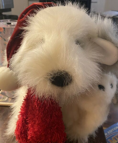 """Vintage Shaggy Dog and Puppy White amp; Gray 13""""Long Plush Toy W Red Scarf and Hat $10.00"""