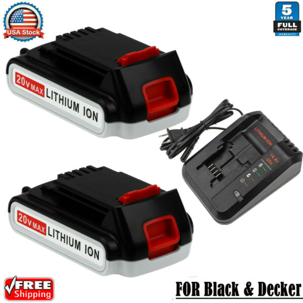 3.0Ah For Black and Decker 20Volt MAX Lithium Battery LBXR20 LB20 Fast Charger