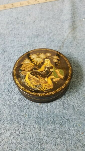 Vintage Russian Black Lacquer Trinket Box With Hand Painted Figural Design