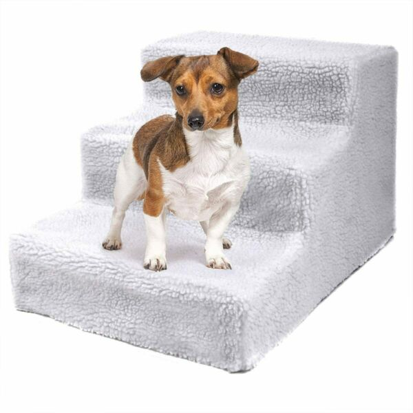 Dog Stairs for High Beds 3 Steps Removable Cover Slip Resistant for Pet Cat Dog $21.59