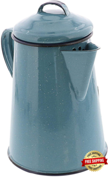 Cinsa Enamelware Coffee Pot Turquoise Color 6 Cups Camping Essentials Ho