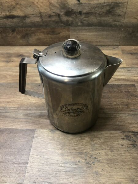 Cabela#x27;s Camping 9 Cup Percolator Coffee Pot 18 8 Stainless Steel