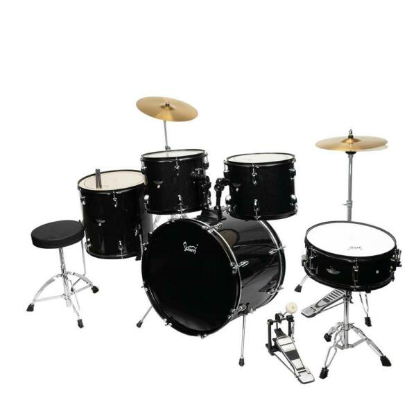 5 Piece Full Size Complete Adult Drum Set Cymbals Kit with Stool amp; Sticks Black $289.99