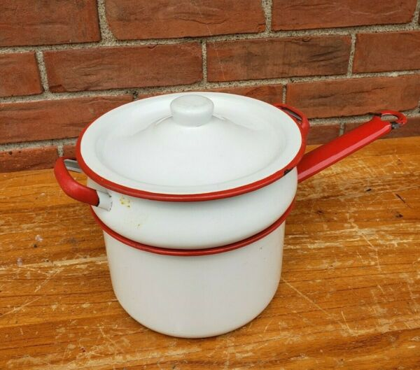 Vintage Enamelware Double Boiler White with Red Trim amp; Handles 7 x 6 1 2 in. $29.99
