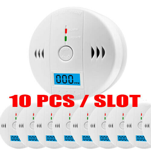 1 10pcs LCD CO Carbon Monoxide Gas Detector Alarm Battery Operated $11.99