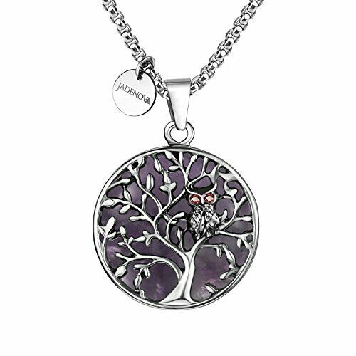 Owl Family Tree Necklace Tree of Life Gemstone Pendant Owl Natural Amethyst