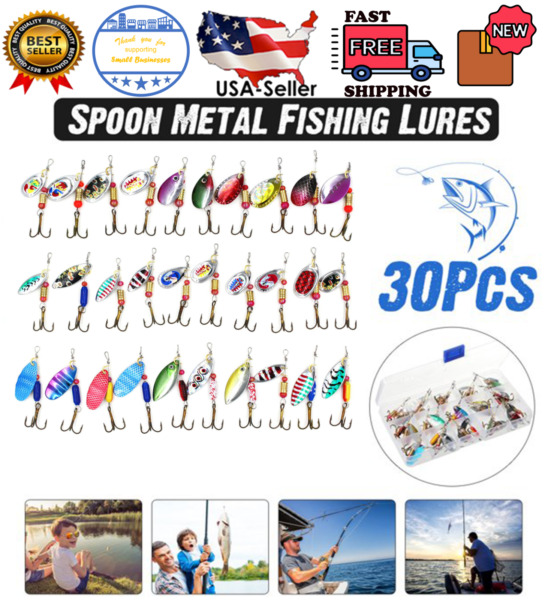 30PCS Fishing Lures Metal Spinner Baits Bass Tackle Crankbait Trout Spoon Trout $19.99