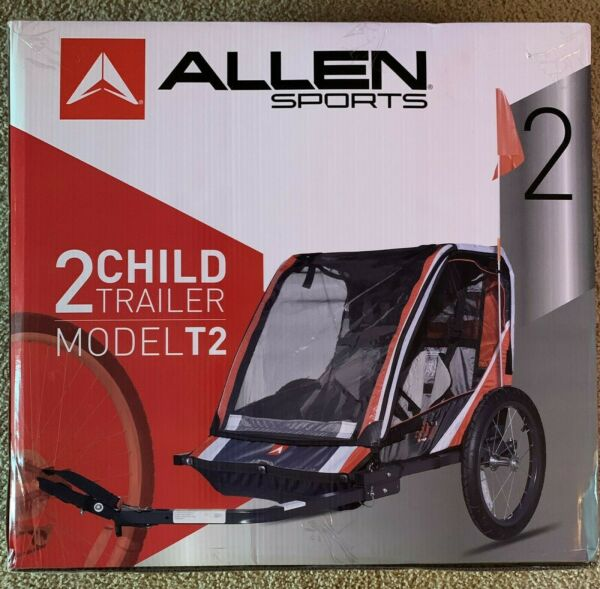 Allen Sports T2 Deluxe Steel 2 Child Bicycle Trailer New Sealed $114.95