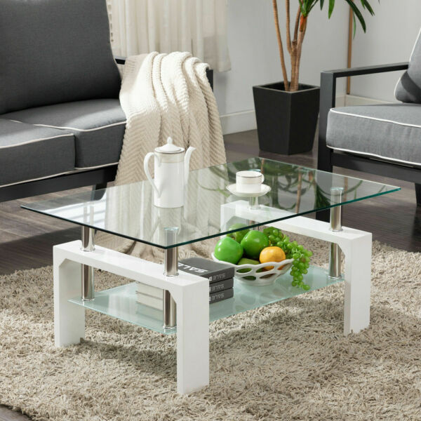 Design White Glass Coffee Table End Side Table Living Room Office with Shelf