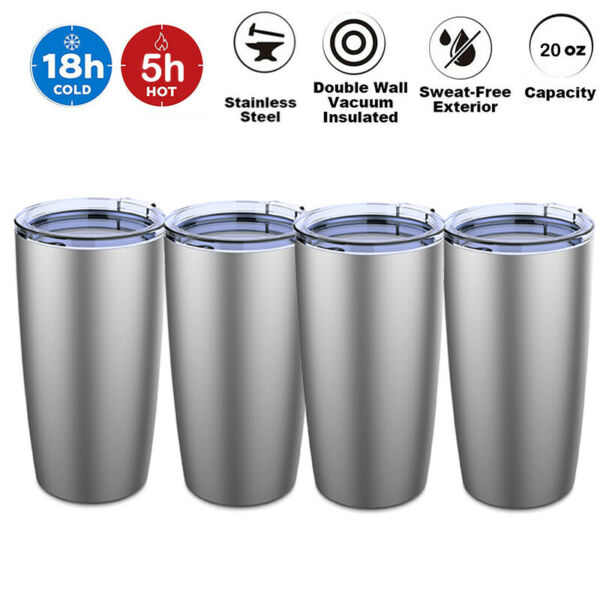 4pc 20oz Stainless Steel Tumbler Double Wall nsulation Sport Travel Water Bottle $21.89