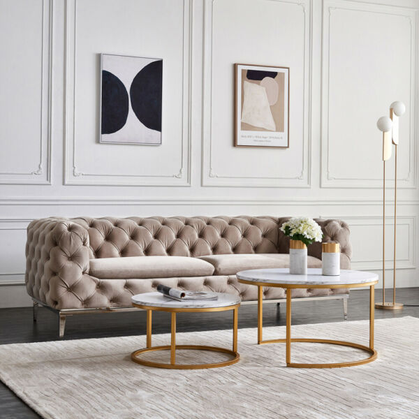 2 Pcs Nesting Coffee Table Sets Golden Metal Frame with Marble Color Living Room
