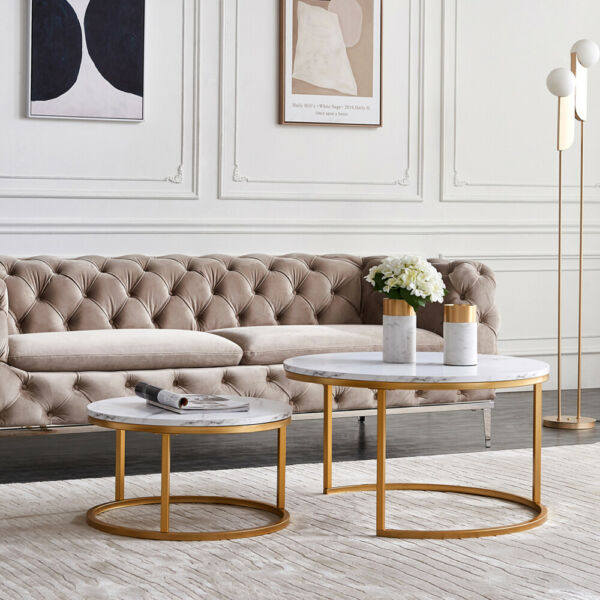 2 Pcs Nesting Coffee Table Sets Golden Metal Frame with Marble Color 3 Styles