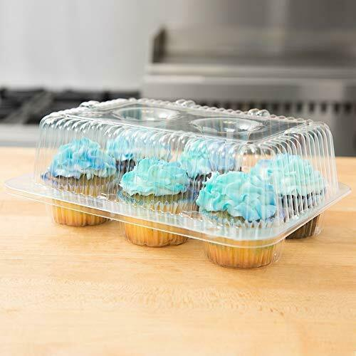 40 Cupcake Containers Plastic Disposable High Dome Cupcake Boxes 6 Compartm...