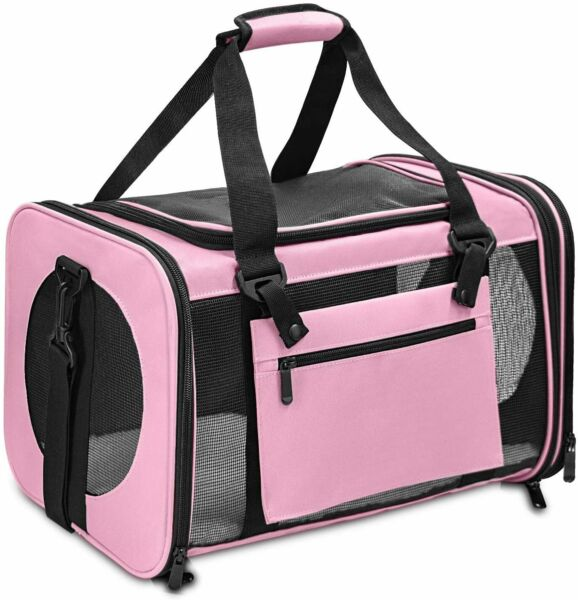 Pet Carrier Airline Approved Dog Carriers for Small Dogs Cat Travel Carrier Pink $21.99