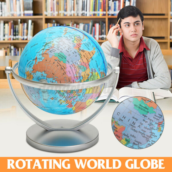 7quot; Stand 360° Rotating World Globe Map School Geography Student Educational Gift