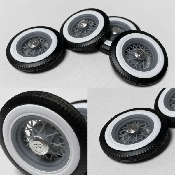 """1:25 Stock 32 Ford 18"""" wire wheel on skinny white walls"""