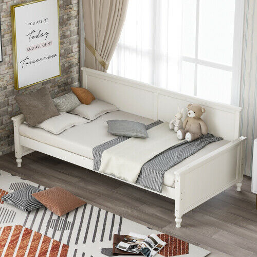 Living Room Bedroom Twin Size Wood Daybed Bulb Shaped Feet Design Sofa Bed New $268.99