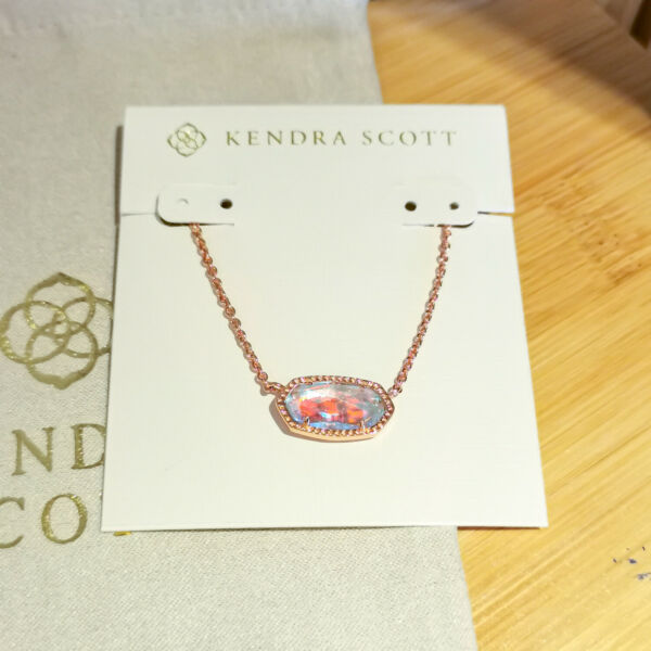 Kendra Scott Dichroic Glass Elisa Pendant Necklace in Rose Gold