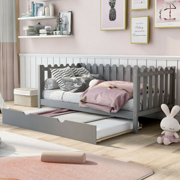 Rustic Twin Size Wood Daybed with Trundle Sofa Bed Frame Wood Slat Support Gray $275.49