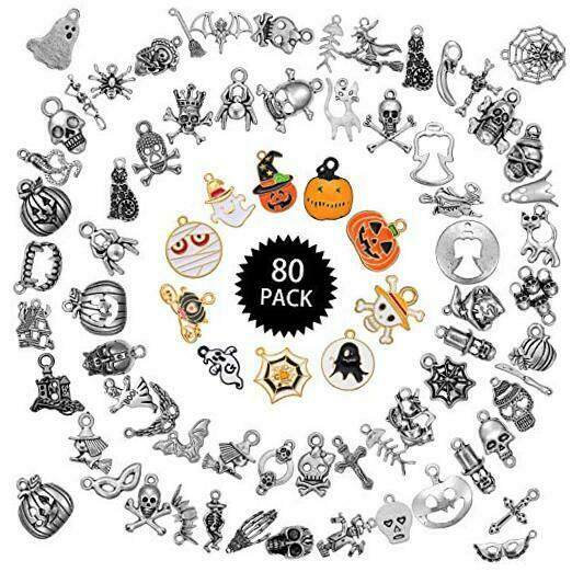 80 Pieces Halloween Decorations Charms Pendants DIY Jewelry Making Charms $16.99