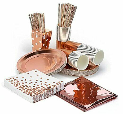 Party Paper Plates Set Party Supplies Disposable For 15 Guests Rose Gold $19.73