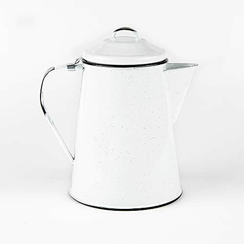 Cinsa Enamelware Coffee Pot White Color 8 Cups Camping Essentials Hot W...