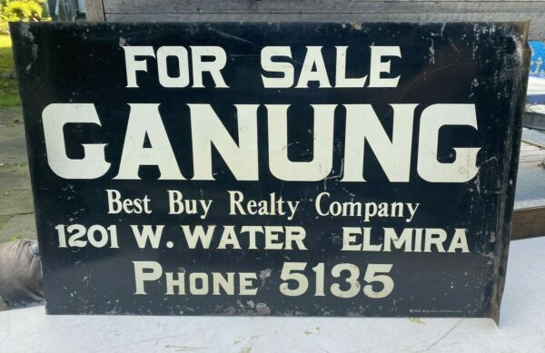 VINTAGE ADVERTISING GANUNG REAL ESTATE DOUBLE SIDED METAL FLANGE SIGN ELMIRA NY