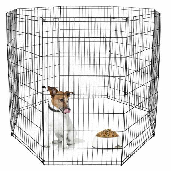 8 Panels Tall Dog Playpen Large Crate Fence Pet Play Pen Exercise Cage 48 Inch