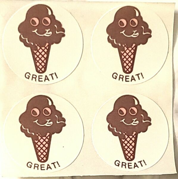 CTP Matte Scratch N Sniff Stickers Sheet of 4 CHOC ICE CR CONE PACK OF 3 SHEETS