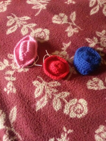 Crocheted Dog Pink hat Blue Red Dog Supplies Blue hat Blue pet Costume size xsm $3.50