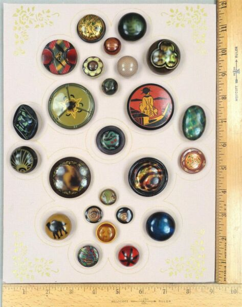 Card of 30 CELLULOID Antique BUTTONS #8 Bubble amp; Tight Tops Pictorials amp; More