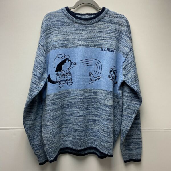 Vintage History ICEBERG Sweater Made In Italy Baby Blue Navy Blue Men's Size XL $89.99