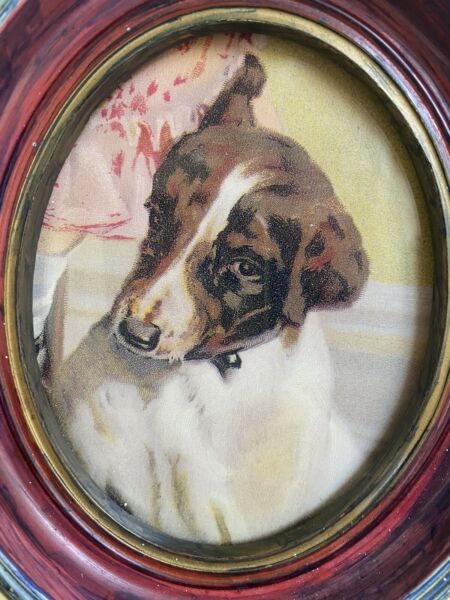 Vintage Shy Dog in Oval Painted Frame 6quot; x 5.25quot; $11.99