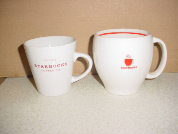 2 STARBUCKS CUPS MUGS 2004 STEAMING CUP 2008 EST. 1971 COFFEE CO...BOTH RED