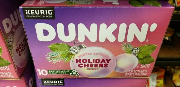Dunkin Winter Edition Holiday Cheers Coffee 10 count Keurig K Cups Dunkin Donuts