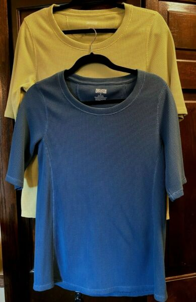 DULUTH TRADING TERMAL ELBOW SLEEVE PULLOVER TOPS. Women#x27;s Large. Set of 2. VGUC $26.00