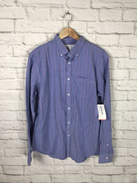 NEW Old Navy Mens Blue Striped Long Sleeve Button Down Shirt Size Large Flex $15.19