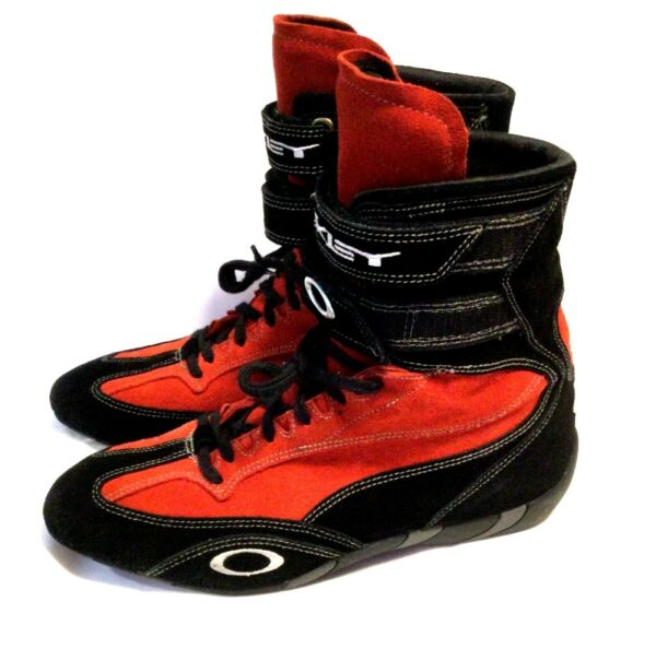 RARE OAKLEY CARBON X RACING BOOTS Men#x27;s 10.5 Red Suede Cart Car SFI F1 Shoes $269.99