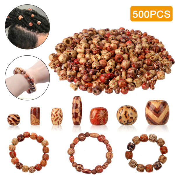 500PCS Wooden Beads Jewelry Making Craft DIY Natural Making Supplies Painted US $11.98