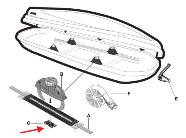 Thule Snapfit Cradle Replacement Parts with Screw 4 Ski Roof Box $15.00