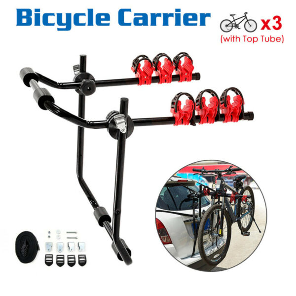 3 Bike Trunk Mount Rack Hitch Racks Foldable Bicycle Carrier Rack for Cars SUV $62.90