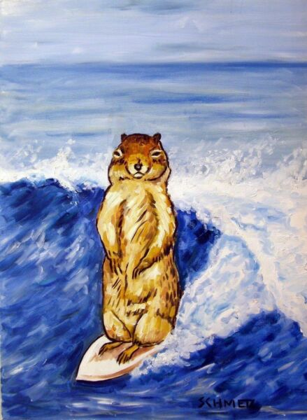 CHIPMUNK SURFING picture ANIMAL  art PRINT abstract folk pop ART JSCHMETZ