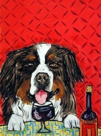 BERNESE MOUNTAIN dog at the wine bar  dog art print 11x14