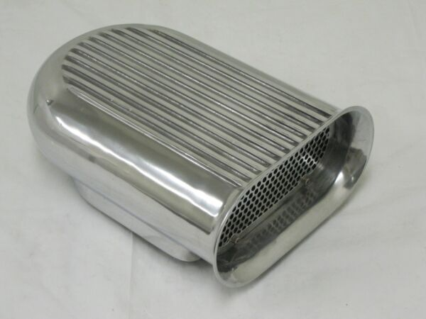 4 Barrel Polished Aluminum Hilborn Style Carb Finned Air Cleaner Hood Scoop Kit