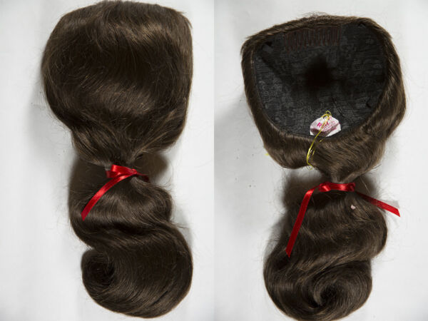 Premium Human Hair Mini Fall 18in Long Straight Extension Dome Base 5 X 6 inches