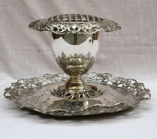 MAGNIFICENT 19c  GORHAM 3P SET STERLING SILVER CENTER PIECE FILOWER POT