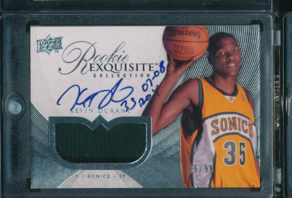 KEVIN DURANT 2007-08 UD EXQUISITE AUTO RC *THUNDERS* PATCH JERSEY NUMBER # 3599