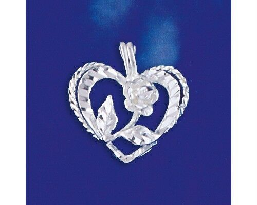 Sterling Silver Heart and Rose Pendant Italian Love Charm Solid 925 Italy New
