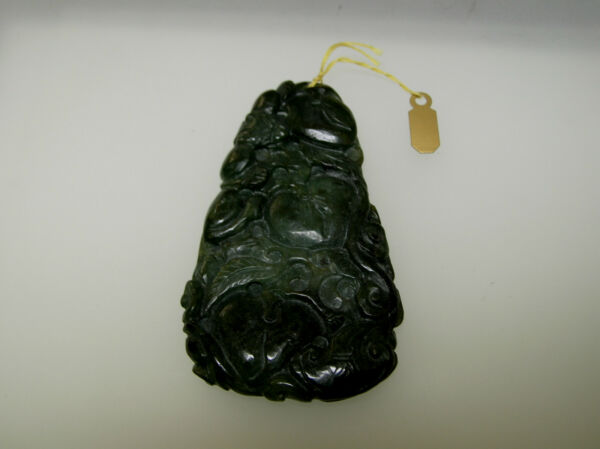 Natural Chinese antique old Jade vintage carving lucky animal floral design